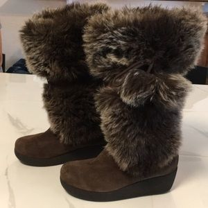 REPORT EFFIE LEATHER FUR TRIMMED WEDGE HEEL BOOT